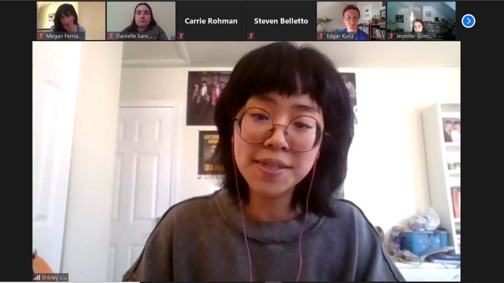 Screenshot of Shirley Liu '23 who won Jean Corrie Prize