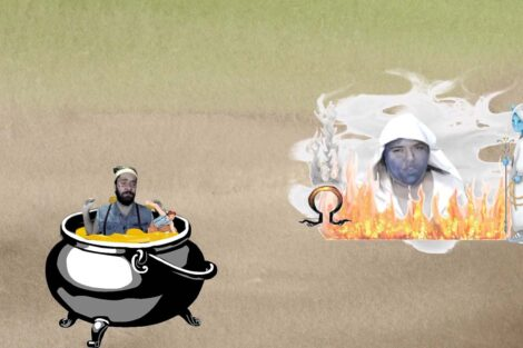 Monkey cooks in oil in hell