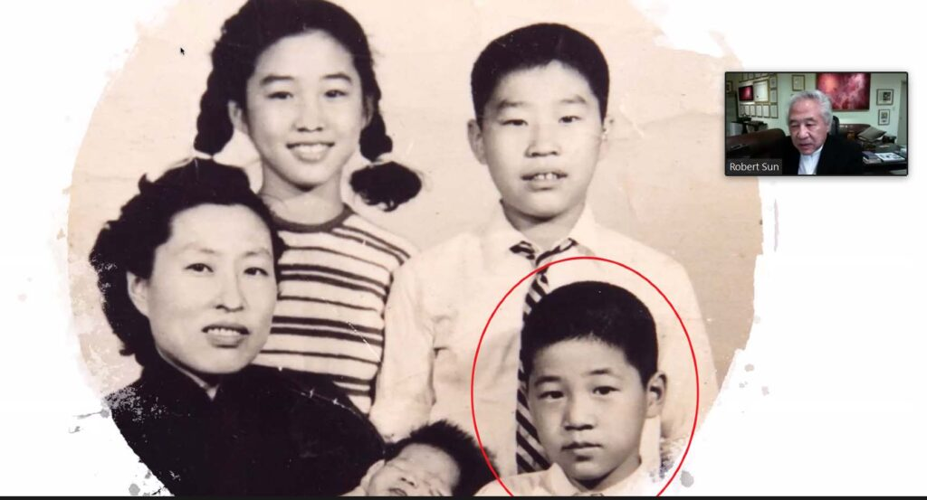 Family picture of Robert Sun and his mother and siblings