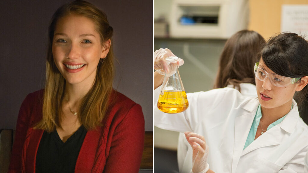 Two photos: Sasha Neefe, smiling; Lindsay Soh, measuring liquid in a beaker, while wearing safety glasses.