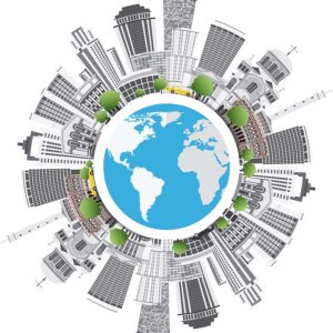 illustration of the Earth surrounded by city buildings