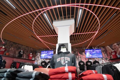 a neon ring on the ceiling, new branded merchandise in the new Lafayette College store