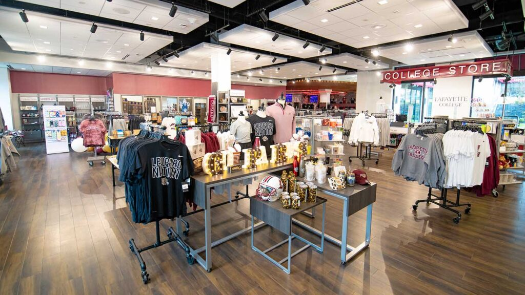 branded clothing on display in new brightly lit Lafayette College store