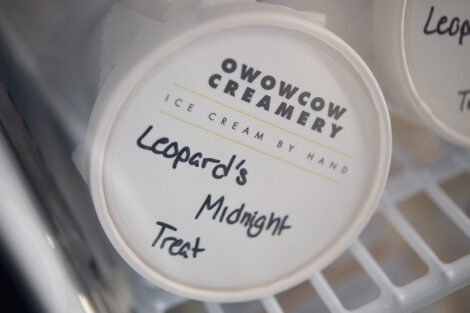 a pint of Leopard's Midnight Treat is for sale in new Lafayette College store