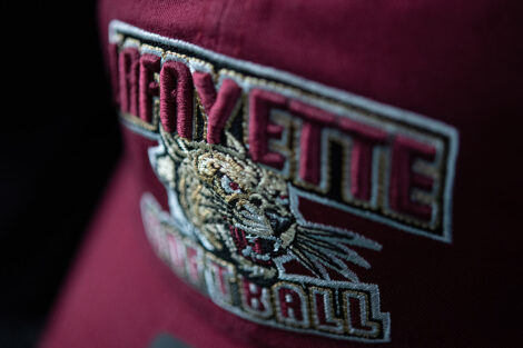 Lafayette College football hat is on display in new college store