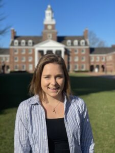 Tara Leininger '22 standing in front of Watson Hall on Lafayette College campus