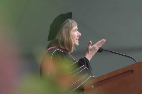 Alison Byerly at podium Commencement 2021
