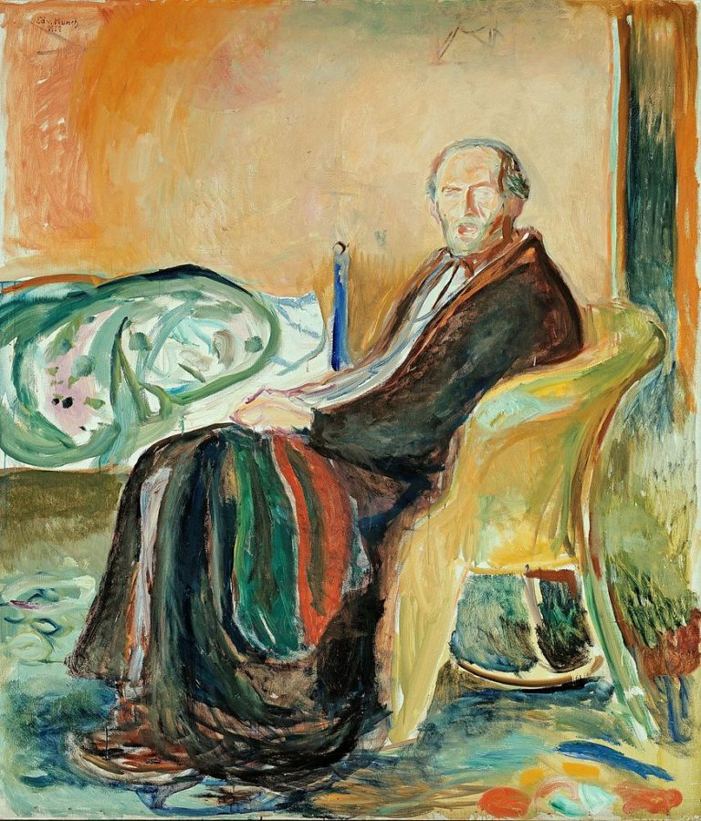 Image of self-portrait by Edward Munch with the flu in 1918