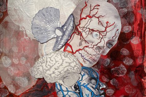 Painting by Ed Kerns with skull covered in red arteries