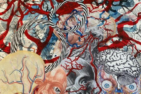 Painting by Ed Kerns with several pairs of eyeballs and brains