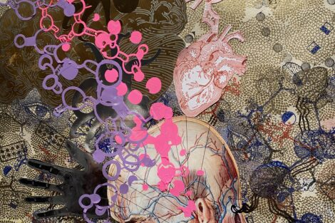 Painting by Ed Kerns with pink and purple paint rising up from a person's skull