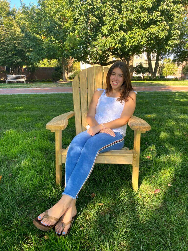 Rachel Denham '21 posing on the quad on campus