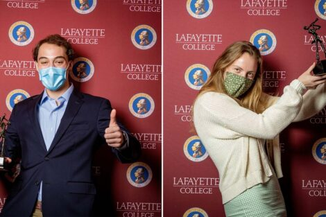 Jeremiah Alterman '23 and Emily Ross '22 holding Aaron O. Hoff Award statue and standing in front of Lafayette College backdrop