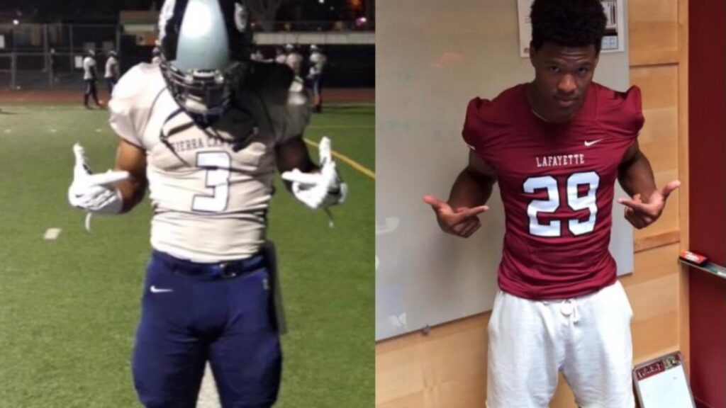 Kaizer Butler in high school and college football uniforms