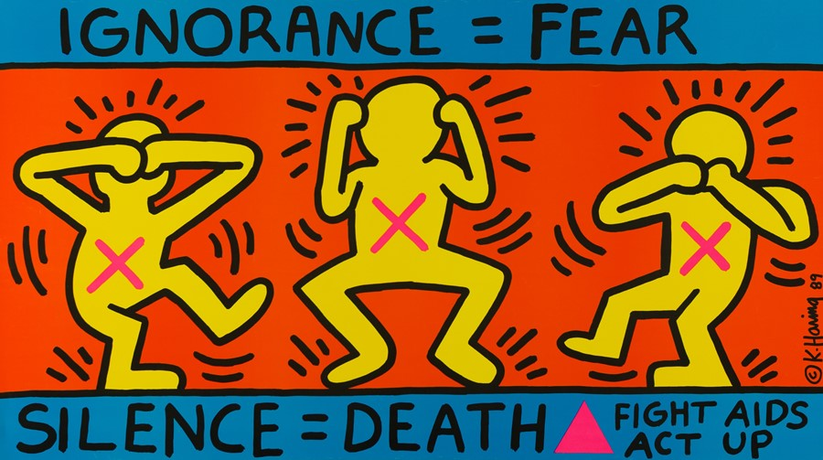 Keith Haring painting to educate about AIDS