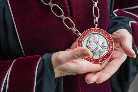Lafayette medalian around President Byerly's neck