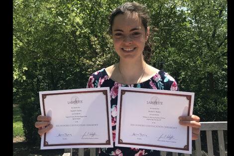 Rachel Hurley holds two certificates