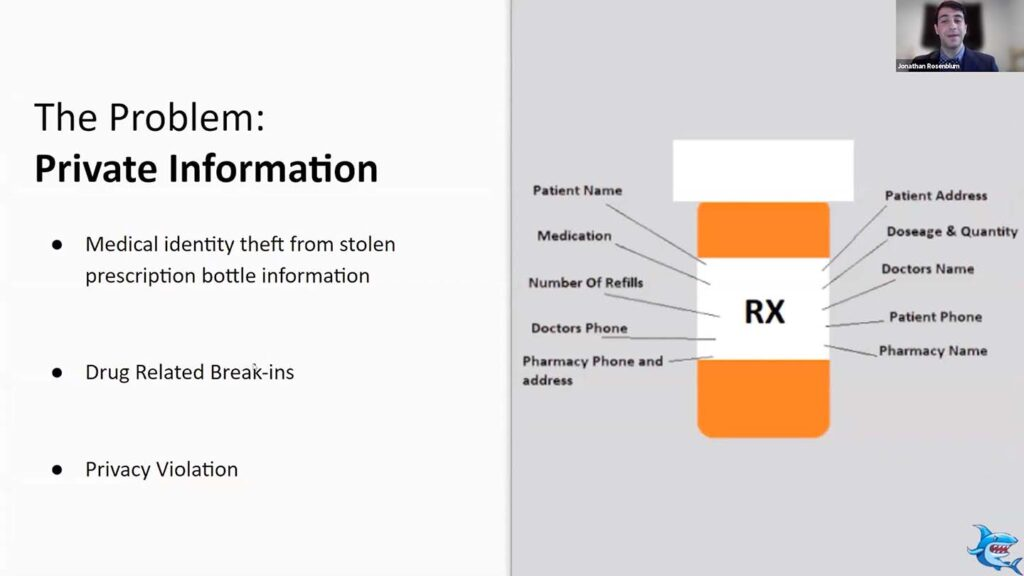Image of slide from Powerpoint that shows all the medical information and a prescription bottle and a list of ways that information can be compromised
