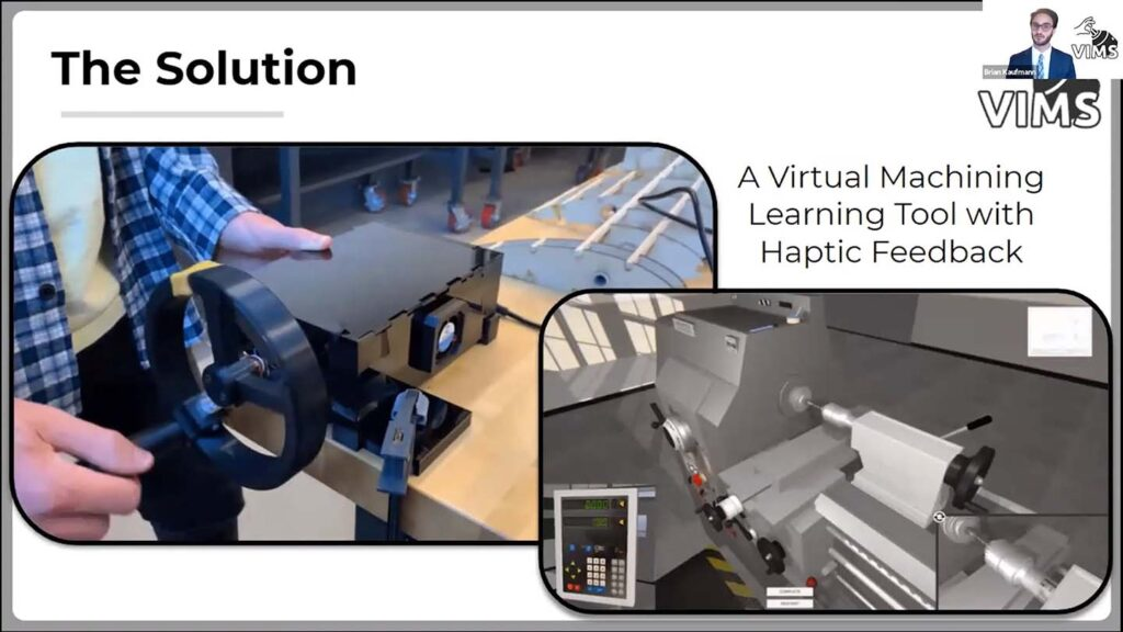 A slide that shows a student turning a crank on one side and how it connects to a virtual crank and machine on the other side