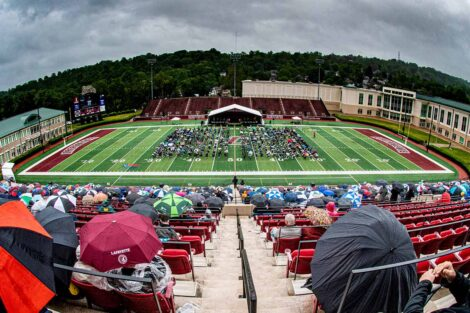 overlooking Fisher Field Commencement 2021