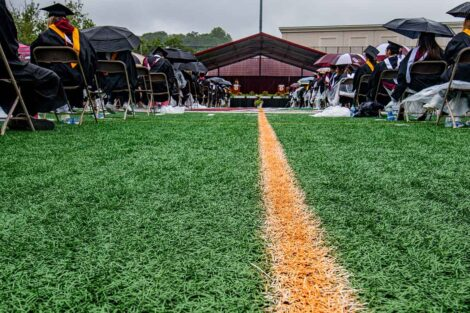 view of Commencement stage from Fisher Field turf