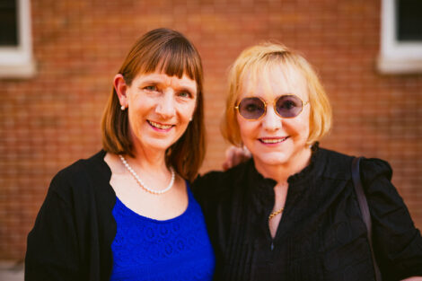 Alison Byerly with Patricia Donahue at Donahue-Garst Plaza dedication