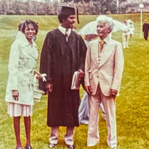 Alumnus Andre McDaniel pictured with his parents at Commencement on Lafayette's campus in 1976