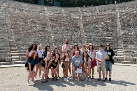 Study Abroad Greece Program 2021 Students Pose at Greek Theater