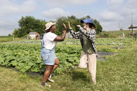 Two students high five at LaFarm