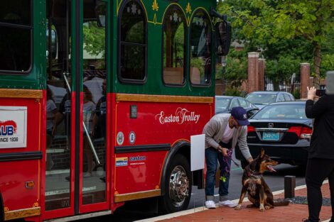 Trolley outside Trolley Stop, man with dog