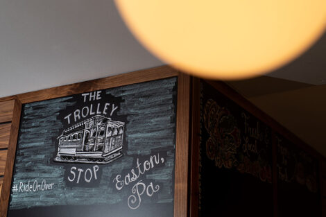 Trolley stop interior chalkboard sign