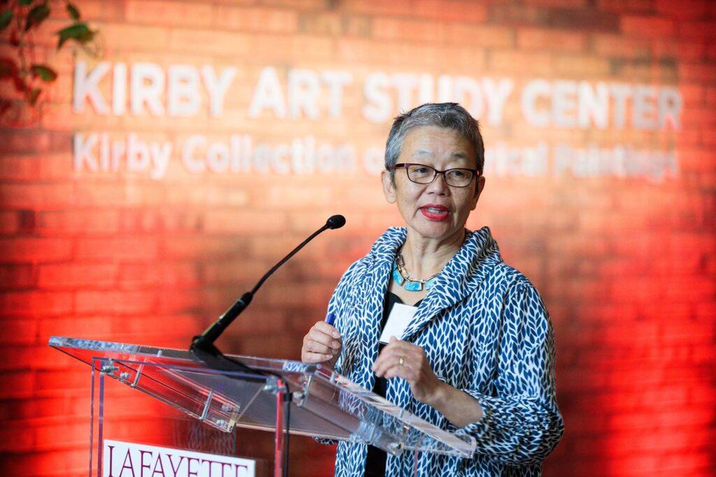 Michiko speaks at the dedication of the new art study center