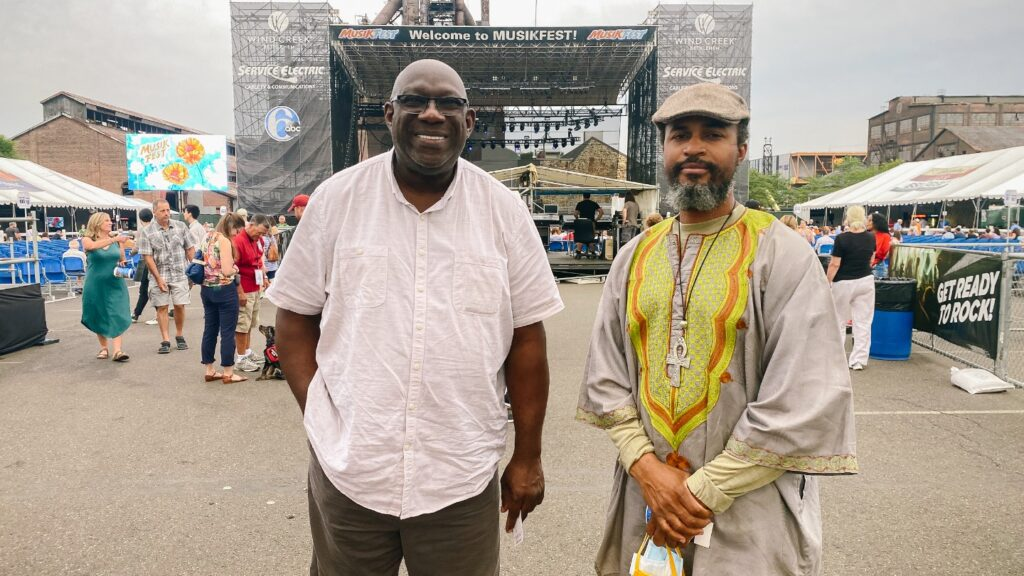 """Gladstone """"Fluney"""" Hutchinson (left), associate professor of economics and policy studies and founder of Lafayette's Economic Empowerment and Global Learning Project (EEGLP), attends Musikfest with members of the West Baltimore Reimagining and Redevelopment Council"""