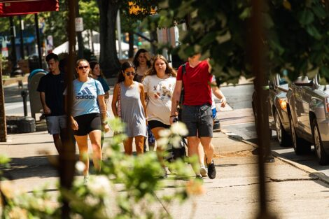 A group of students walk in downtown Easton.