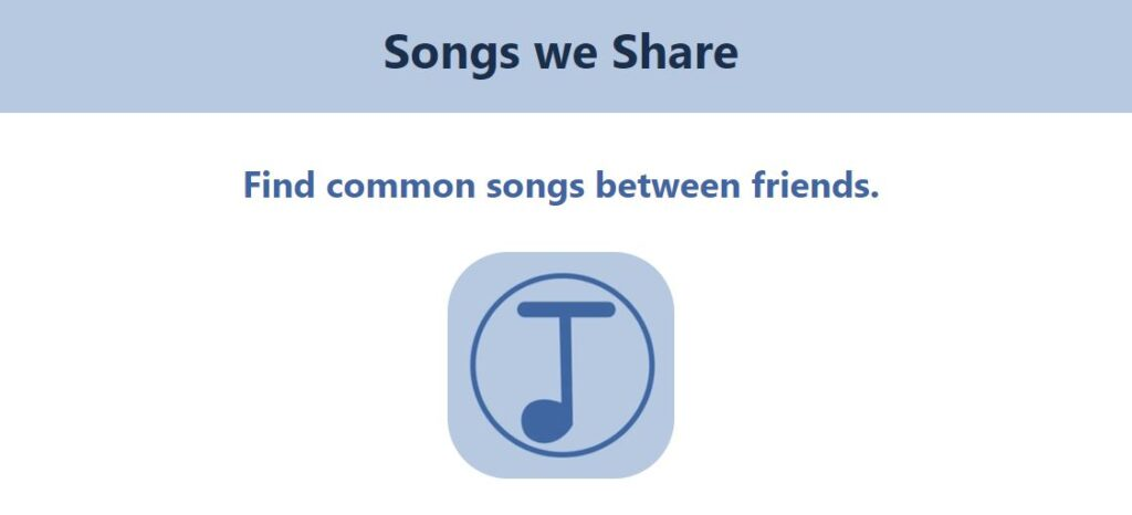 Screenshot of Songs we Share website