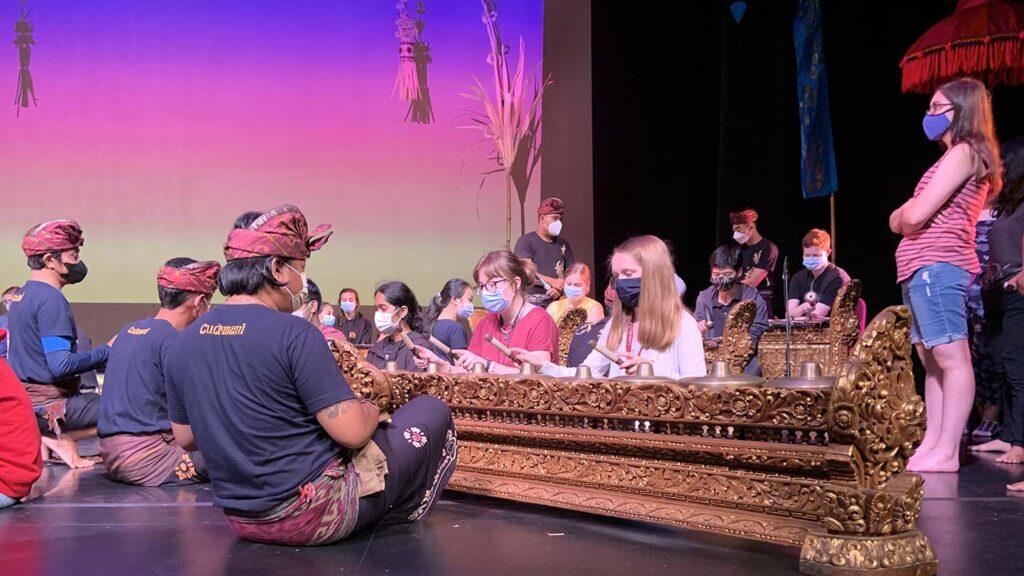 Ensemble members and students play the Balinese gangsa