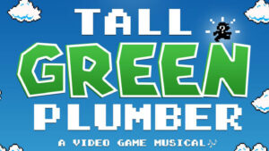 Cover for playbill with title of play in video game font