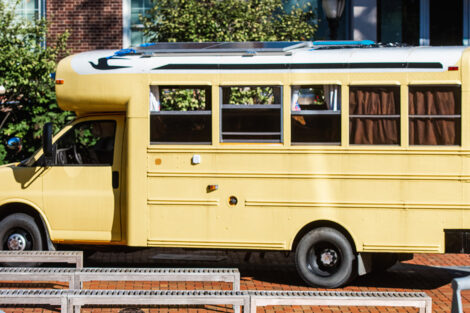A converted school bus.