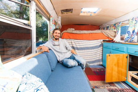 Remy Oktay '23 inside of converted bus.