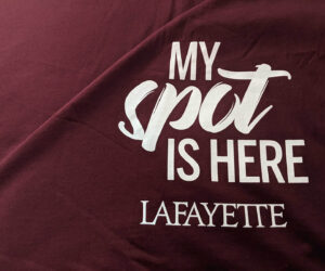 "maroon blanket says ""My Spot is Here Lafayette"""