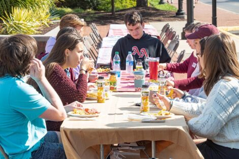 People sit with food around a picnic table