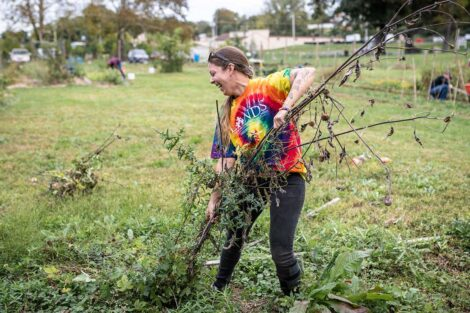 A staff volunteer clears branches from a field.