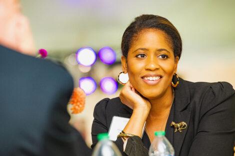 Sherryta Freeman, Director of Athletics , smiles