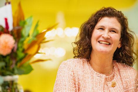 President Nicole Farmer Hurd smiles