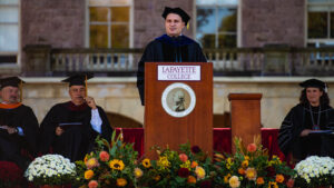 Josh Smith, clerk of the faculty, provided greetings to the president on behalf of the faculty