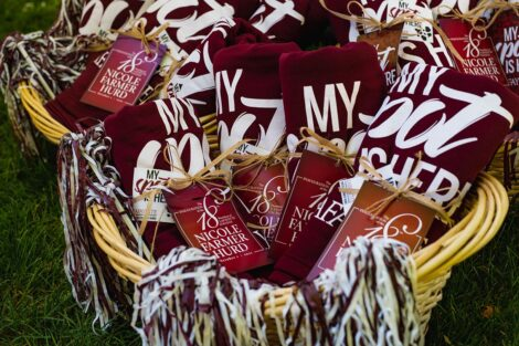 A basket filled with Lafayette College blankets.