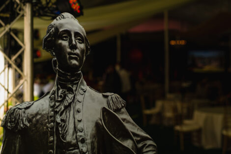 A large printing of the statue of the Marquis de Lafayette
