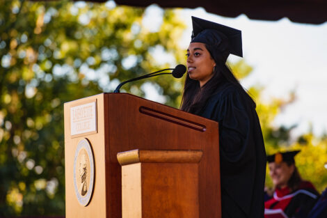 Flor de Maria Selena Caceres Godoy, Class of 2022, president of student government, provided greetings on behalf of students