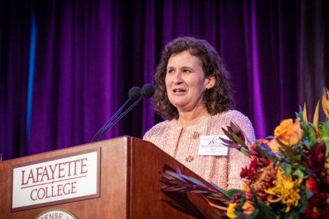 Nicole Farmer Hurd speaks at a podium