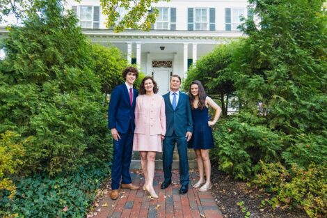 President Hurd with son Matthew, husband Bill, and daughter Monica in front of president's residence